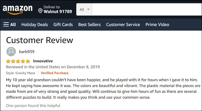 Amazon Customer Product Review