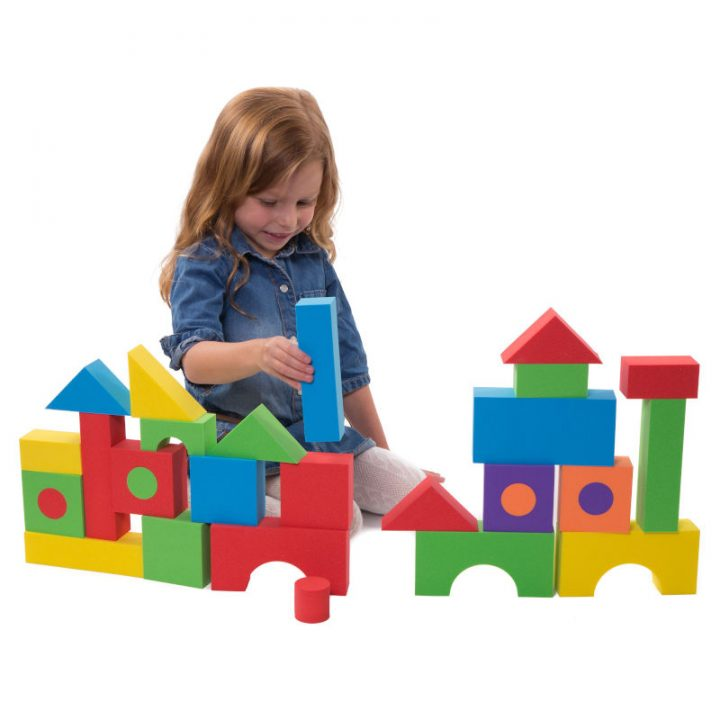 Kid Playing with Foam Building Blocks