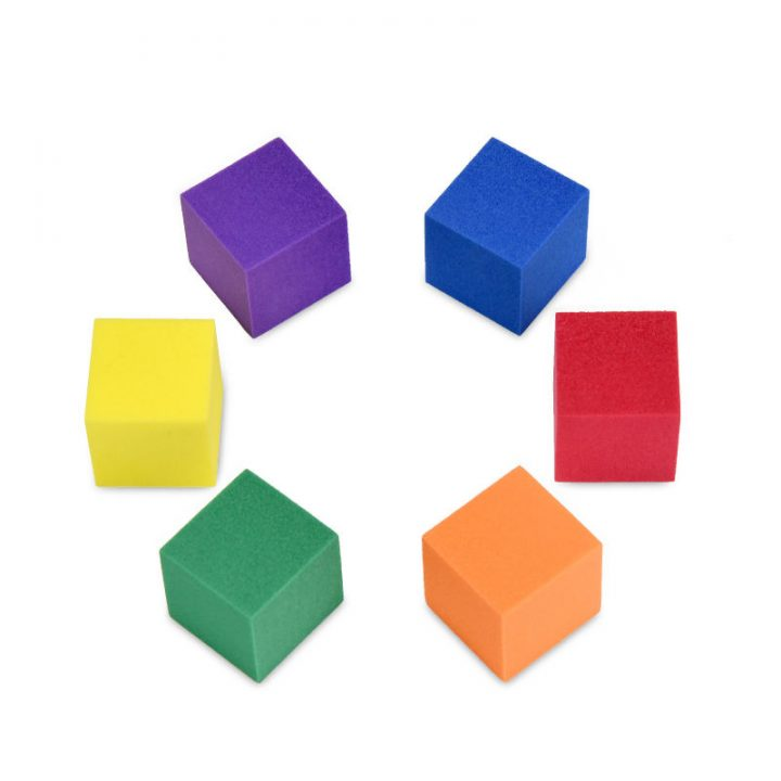 6 Foam Cubes with Different Colors