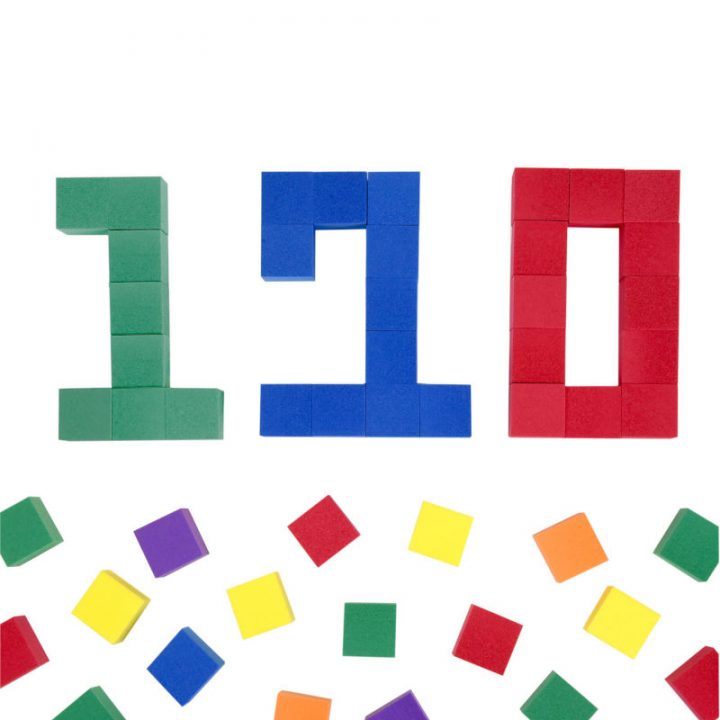 Foam Color Cubes Making the Number 120