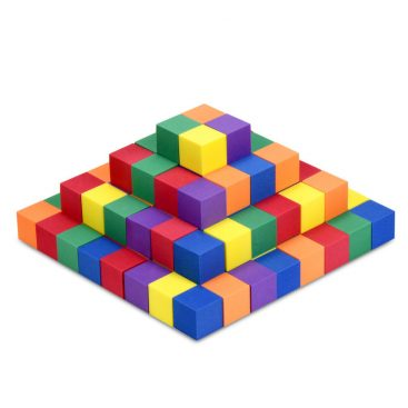 Foam Color Cubes Assembled into a Pyramid